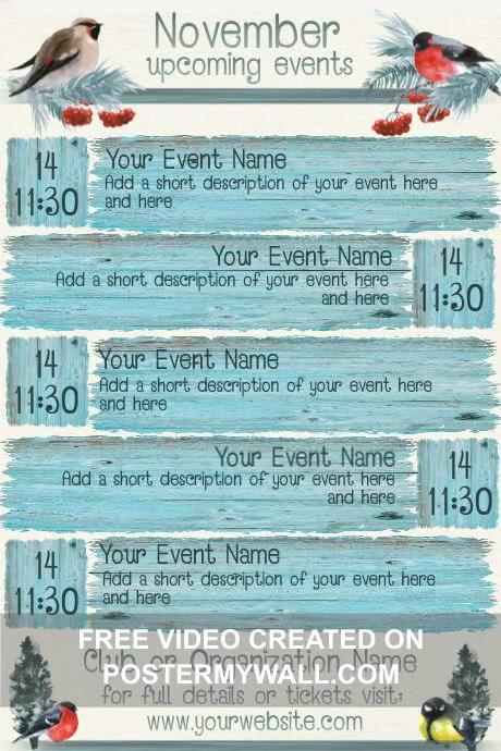 November Fall Theme Upcoming Events Calendar Poster template