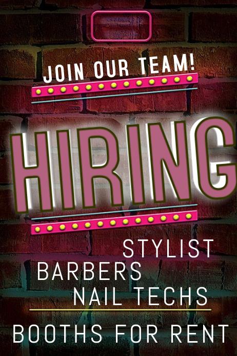Now hiring beauty salon Plakat template