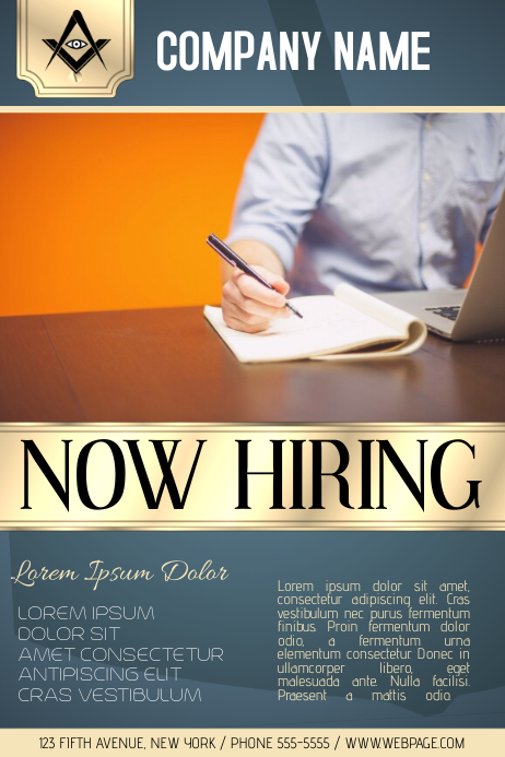 now hiring business company poster template