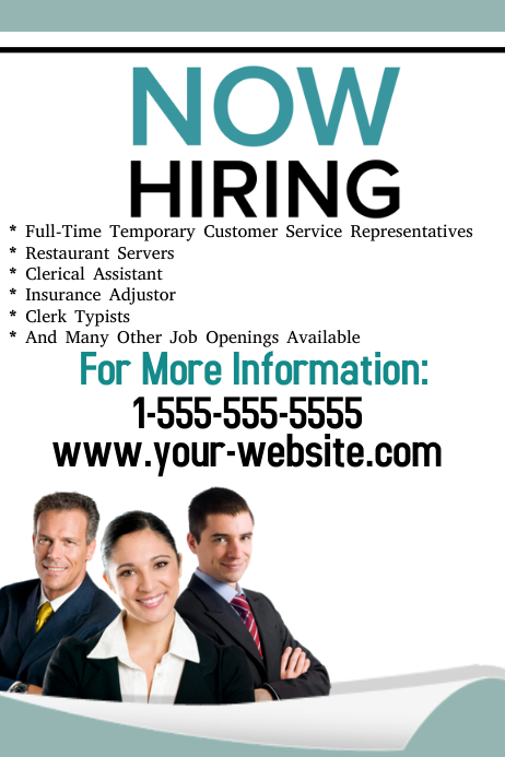 Now Hiring Flyer template | PosterMyWall