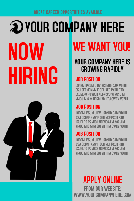 Now Hiring Poster template