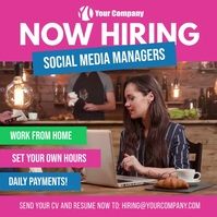 Now Hiring Social Media Managers Square Ad โพสต์บน Instagram template
