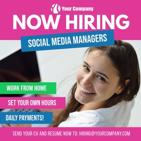 Now Hiring Social Media Managers Square Ad