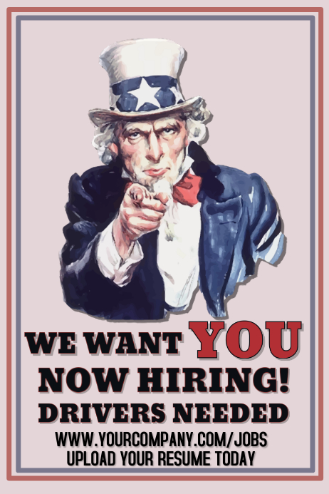 now hiring uncle sam poster template postermywall