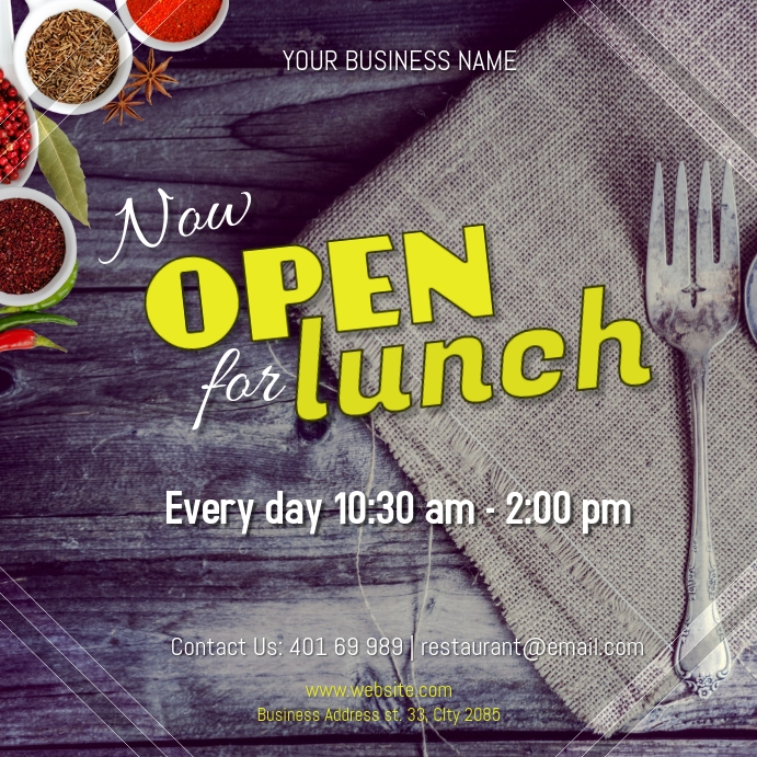 Now Open for Lunch Instagram Post