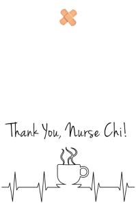 Nurse's Thank You Card - Coffee Demi-page de format Wide template