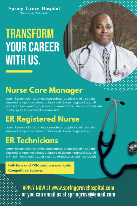 Nurse and Health Care Hiring Poster