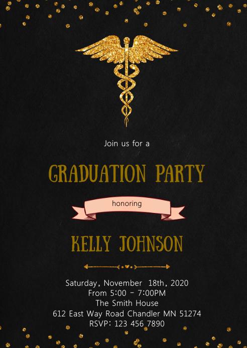 Nurse doctor graduation party invitation
