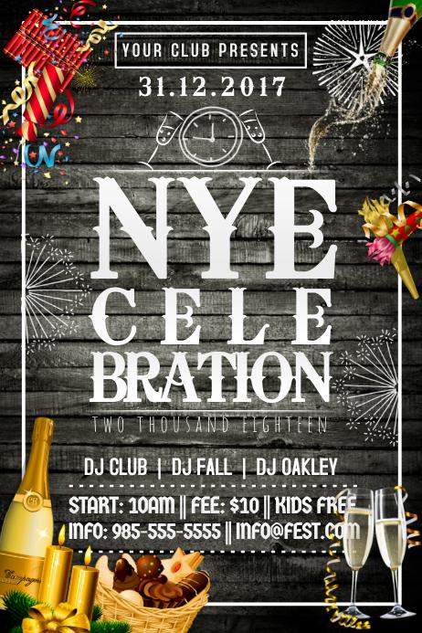 NYE New Years Eve Cel;ebration Clock Countdown Midnight