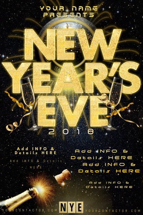 NYE New Years Eve Celebration Clock Countdown Midnight ...