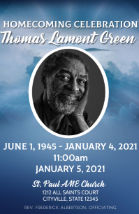 Obituary celebration of life funeral program Demi-page de format Wide template