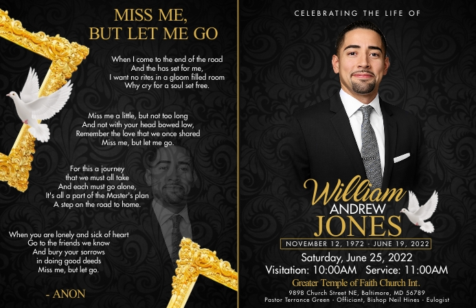 Obituary Cover | Front & Back Tabloid template