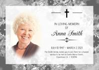 Obituary Fumeral Template Kartu Pos