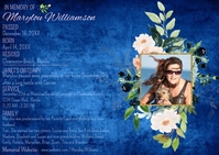 Obituary Floral Horizontal Photo Postcard template