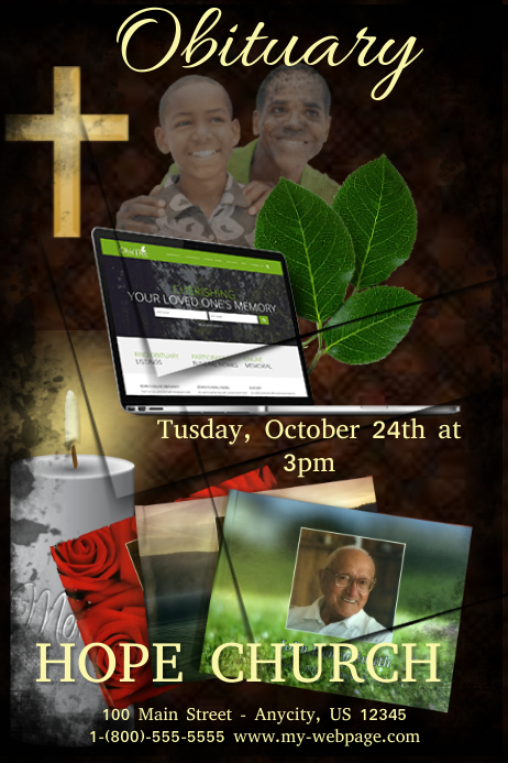 obituary template postermywall