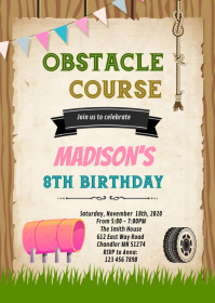 Obstacle course girl birthday invitation