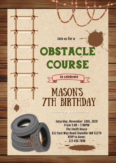 Obstacle course party invitation A6 template