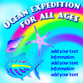 Ocean expedition for all ages, template with starfish shellfish and seashell