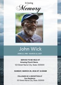 Ocean Funeral Announcement Card A6 template