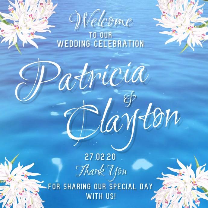 Ocean Themed Wedding Invitation Square Video Template