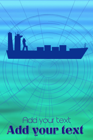 ocean trade container ship boat and stylized map - equipment