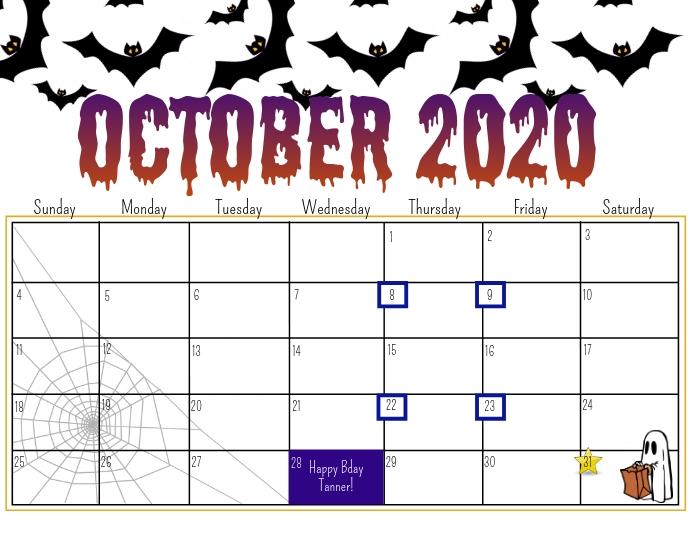 Halloween 2020 Templates October 2020 calendar Template | PosterMyWall