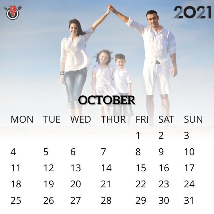 October 2021 calendar Instagram na Post template