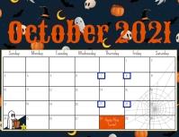 October 2021 calendar Pamflet (Letter AS) template