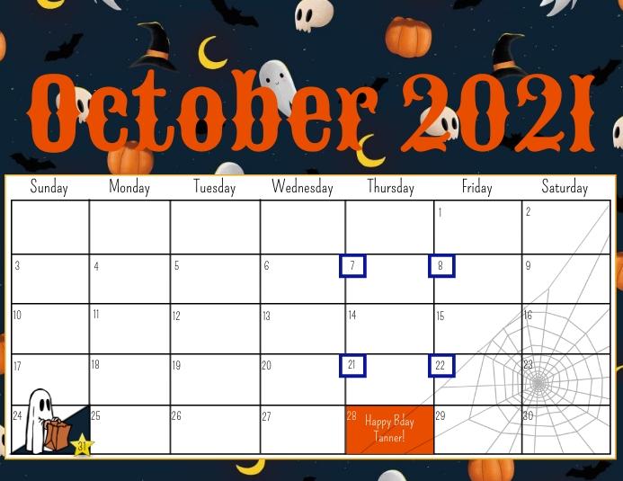 October 2021 calendar Flyer (Letter pang-US) template