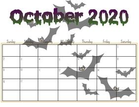 Halloween 2020 October Calander OCTOBER calendar Template | PosterMyWall
