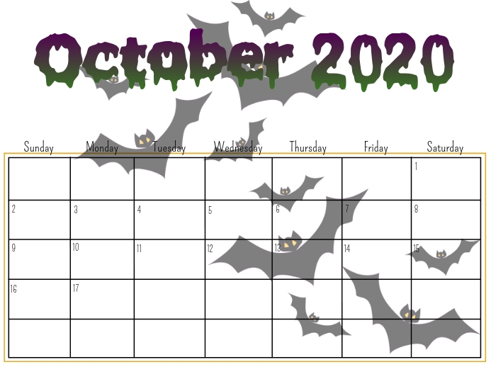 Cool Calendar Printable By Month 2020 October Halloween For School OCTOBER calendar Template | PosterMyWall