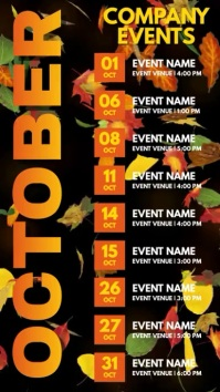 October Events Schedule Video Template Digital Display (9:16)