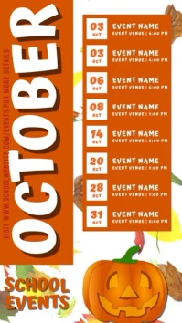 October School Schedule Calendar Template Digitalanzeige (9:16)