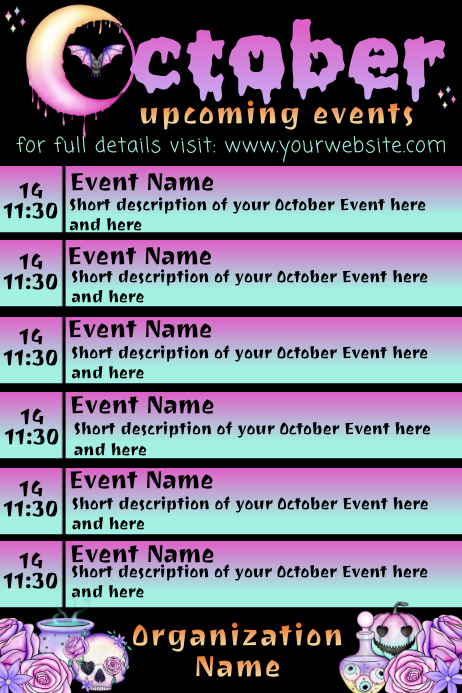 October Upcoming Events Artistic Calendar Poster template