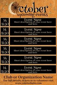 October Upcoming Events Calendar Plakkaat template