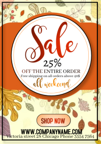 of flyer template happy season sale autumn A4