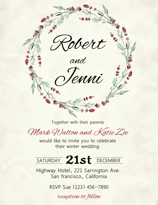 Off white and red christmas wedding flyer template