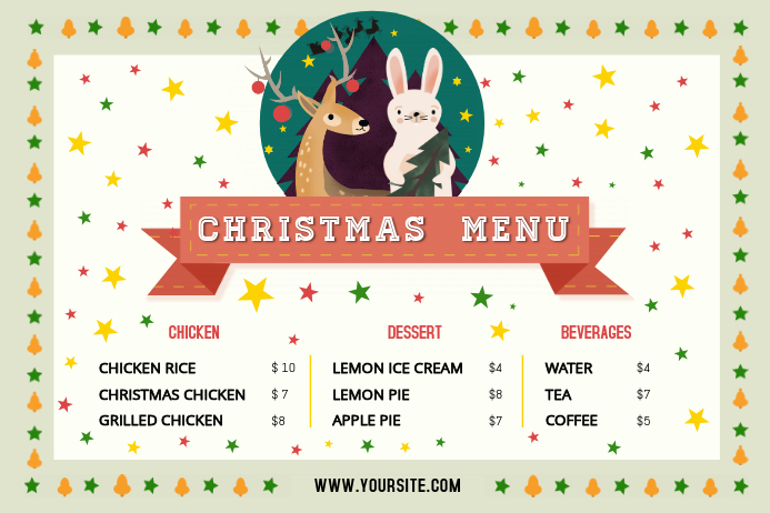 off white christmas menu landscape poster template postermywall