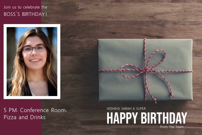 Office Birthday Invite Video Template Póster