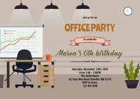 Office birthday theme invitation A6 template