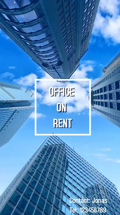 Office Rental real estate flyer Tampilan Digital (9:16) template