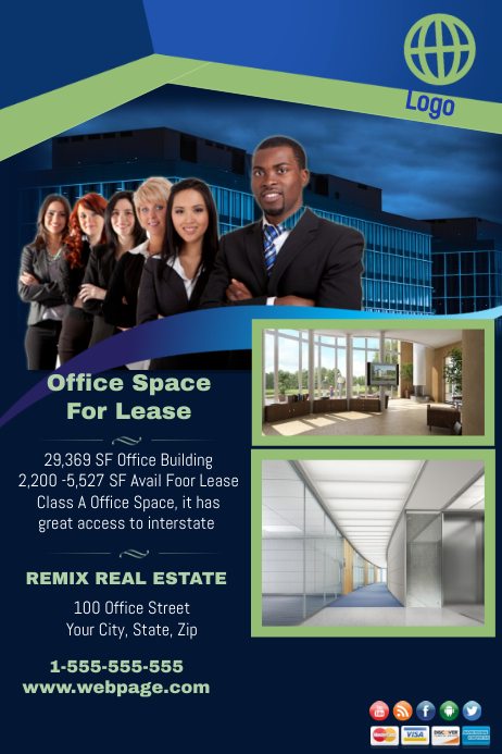 Office Space For Lease. Customize Template  For Rent Flyer Template