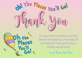 Oh! The Places You'll Go! Thank You Postcard template