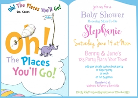 Oh! The Places You'll Go Baby Shower Postcard template