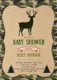 Oh deer baby shower elephant invitation