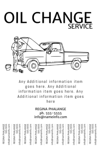Oil Change Service Tear off Tabs poster pintable template