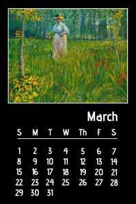 Oil Painting van gogh calendar March 2020