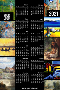 Oil Paintings calendar 2020 Póster template