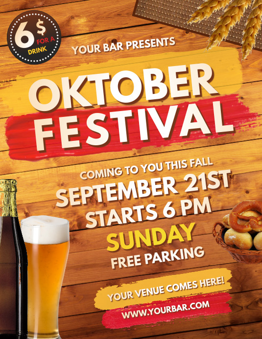 Oktoberfest, Bar Flyer, Cocktail Party