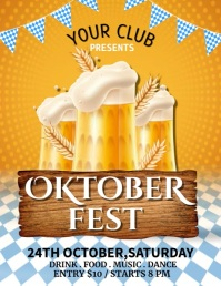 Oktoberfest, Bar Flyer, Cocktail Party Рекламная листовка (US Letter) template